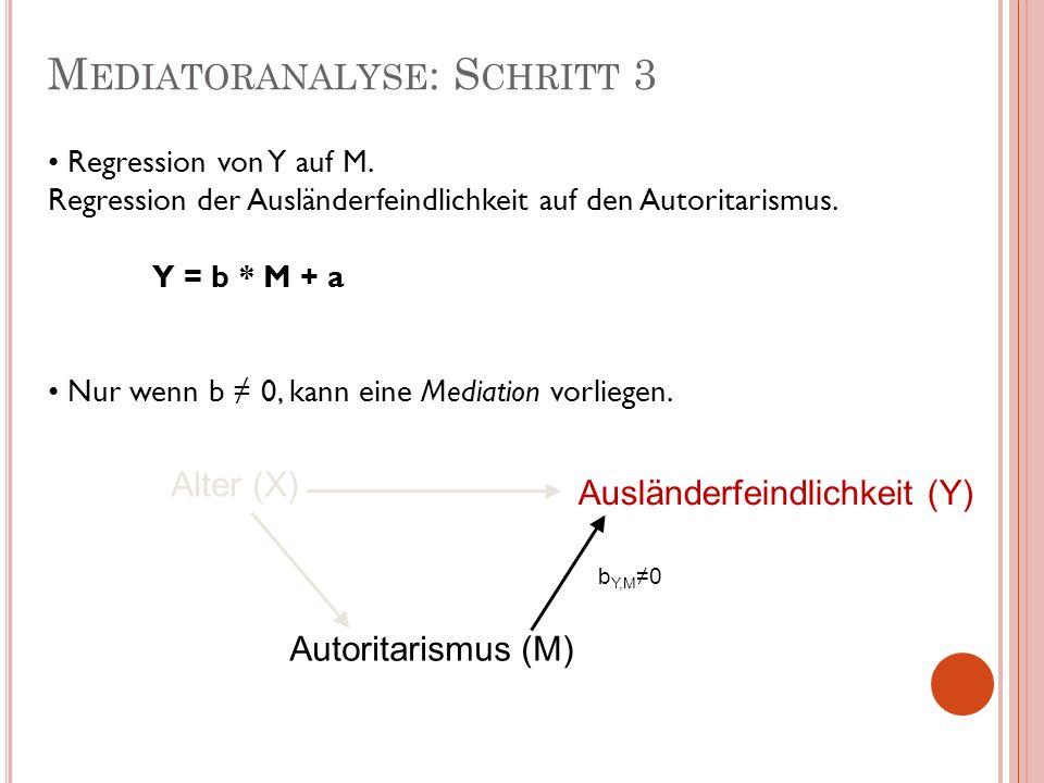 M EDIATORANALYSE : S CHRITT 3 Alter (X) Ausländerfeindlichkeit (Y) Autoritarismus (M) Regression von Y auf M. Regression der Ausländerfeindlichkeit au