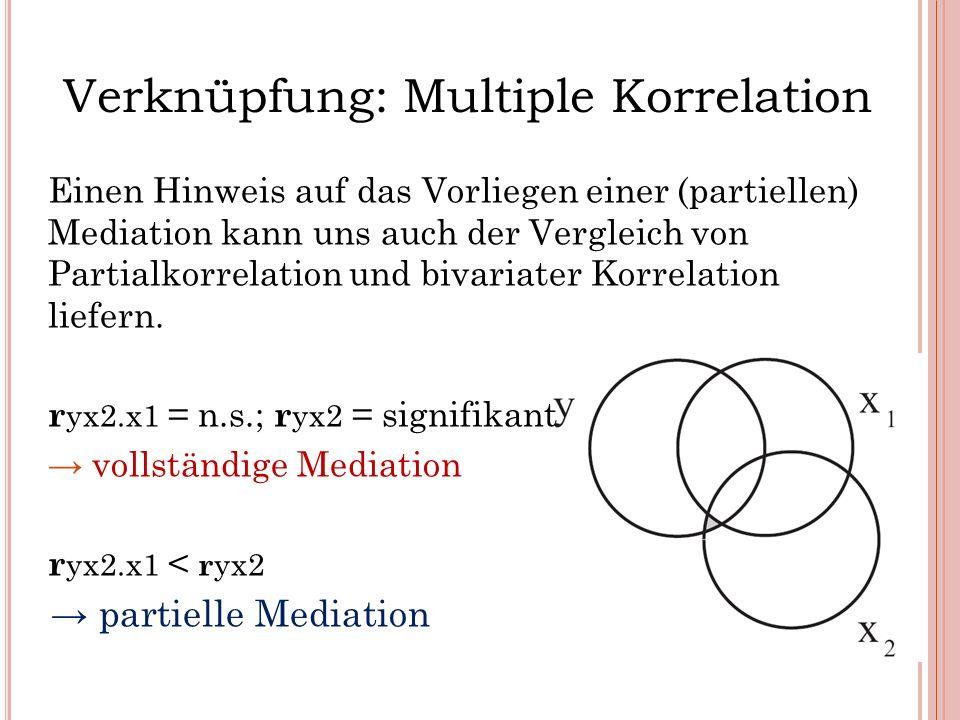 Verknüpfung: Multiple Korrelation Einen Hinweis auf das Vorliegen einer (partiellen) Mediation kann uns auch der Vergleich von Partialkorrelation und
