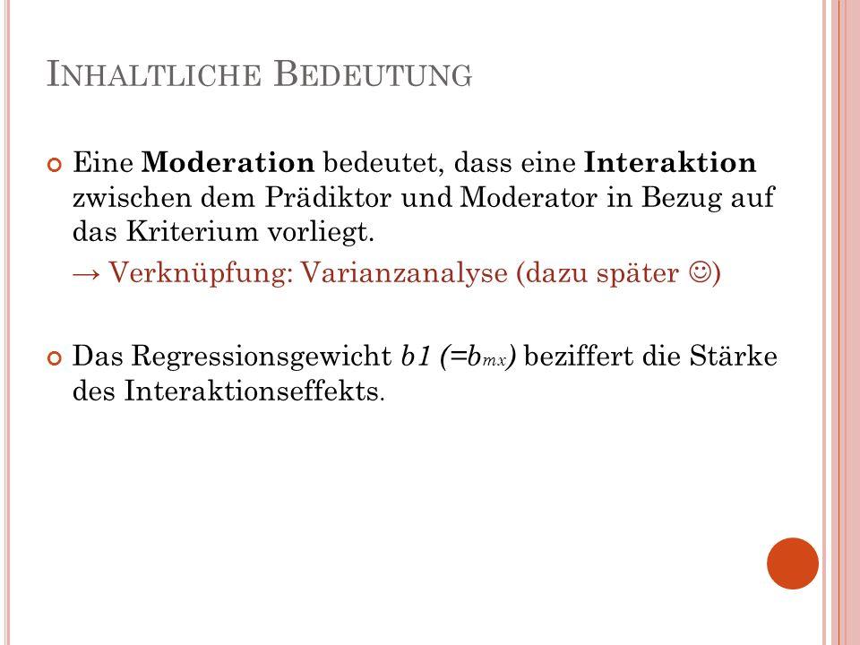 I NHALTLICHE B EDEUTUNG Eine Moderation bedeutet, dass eine Interaktion zwischen dem Prädiktor und Moderator in Bezug auf das Kriterium vorliegt. Verk