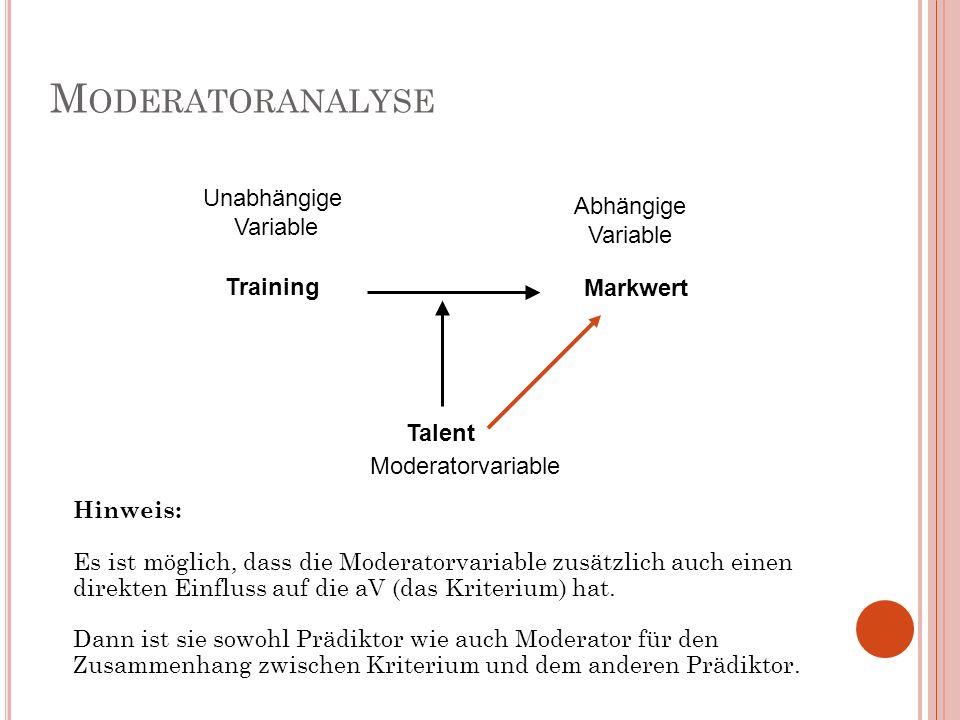 M ODERATORANALYSE Hinweis: Es ist möglich, dass die Moderatorvariable zusätzlich auch einen direkten Einfluss auf die aV (das Kriterium) hat. Dann ist