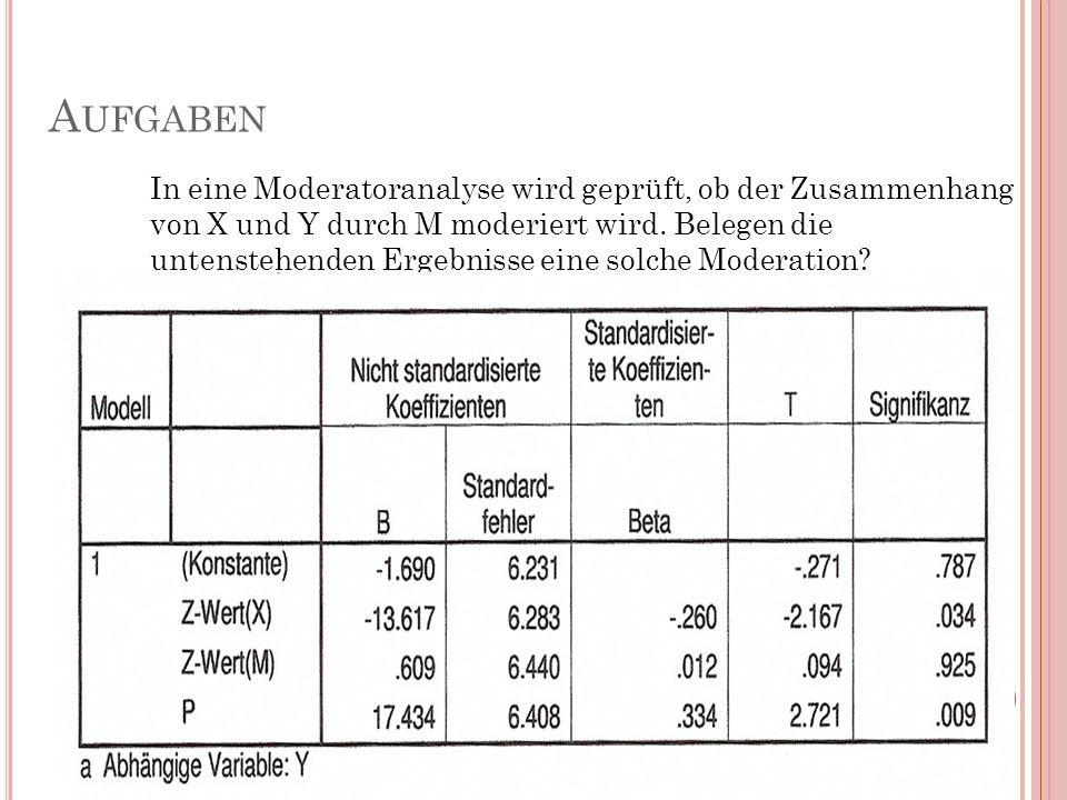 A UFGABEN In eine Moderatoranalyse wird geprüft, ob der Zusammenhang von X und Y durch M moderiert wird. Belegen die untenstehenden Ergebnisse eine so