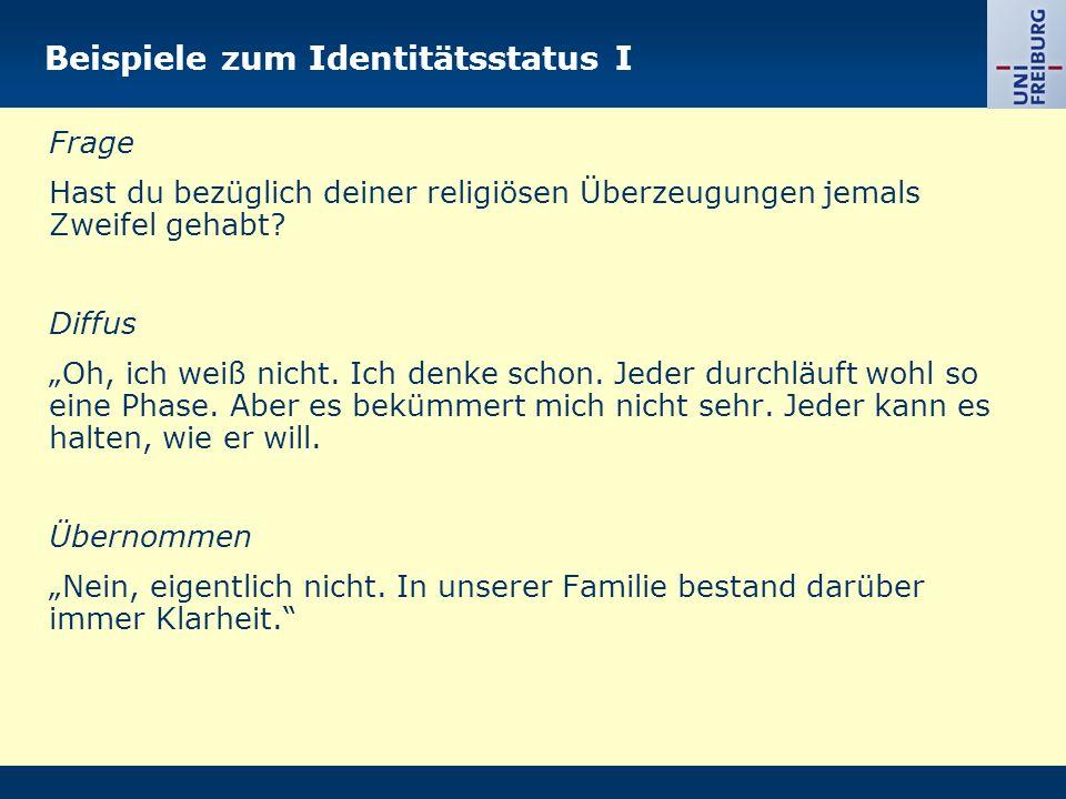 Beispiele zum Identitätsstatus I Frage Hast du bezüglich deiner religiösen Überzeugungen jemals Zweifel gehabt? Diffus Oh, ich weiß nicht. Ich denke s