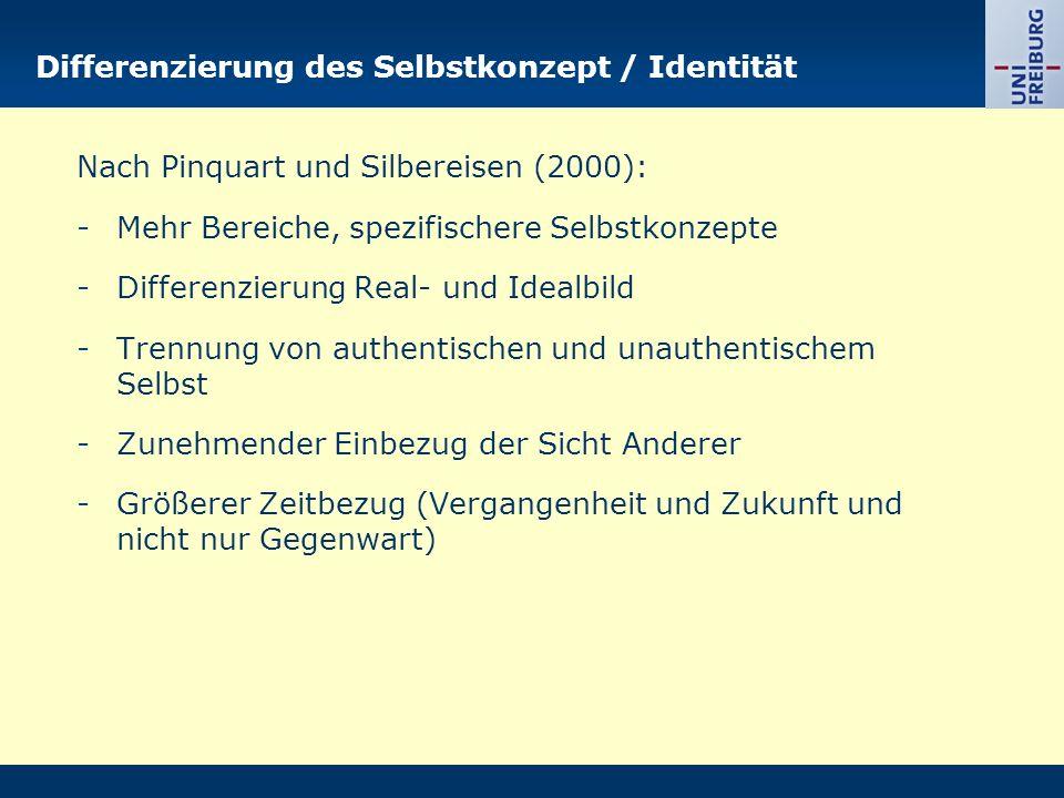 Differenzierung des Selbstkonzept / Identität Nach Pinquart und Silbereisen (2000): -Mehr Bereiche, spezifischere Selbstkonzepte -Differenzierung Real