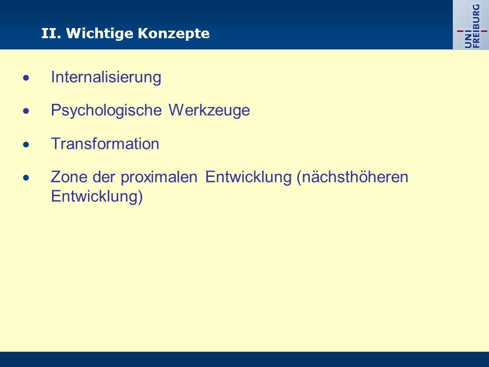 II. Wichtige Konzepte Internalisierung Psychologische Werkzeuge Transformation Zone der proximalen Entwicklung (nächsthöheren Entwicklung)