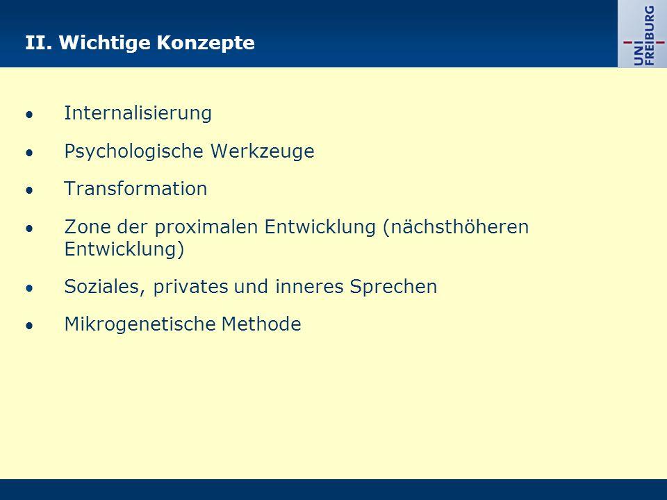 II. Wichtige Konzepte Internalisierung Psychologische Werkzeuge Transformation Zone der proximalen Entwicklung (nächsthöheren Entwicklung) Soziales, p