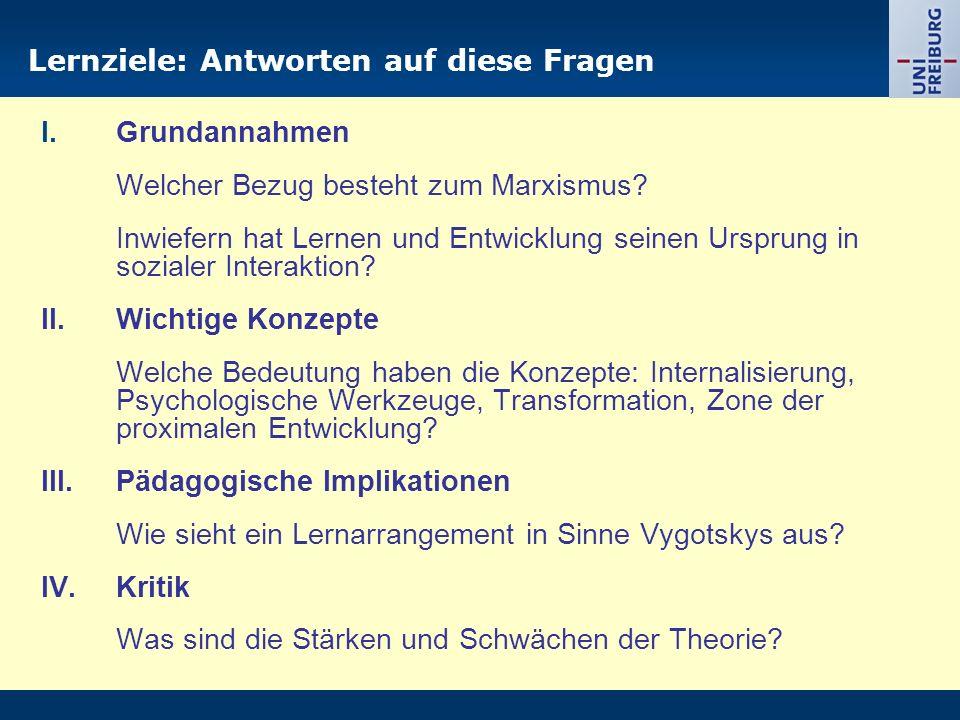 Lernziele: Antworten auf diese Fragen I.Grundannahmen Welcher Bezug besteht zum Marxismus? Inwiefern hat Lernen und Entwicklung seinen Ursprung in soz
