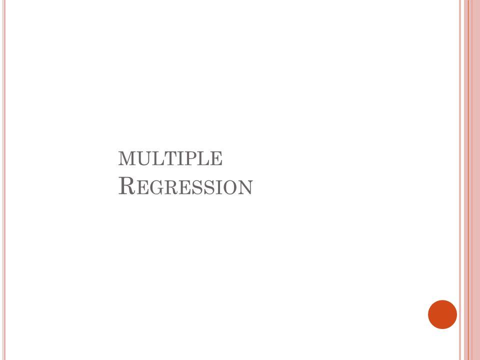 MULTIPLE R EGRESSION