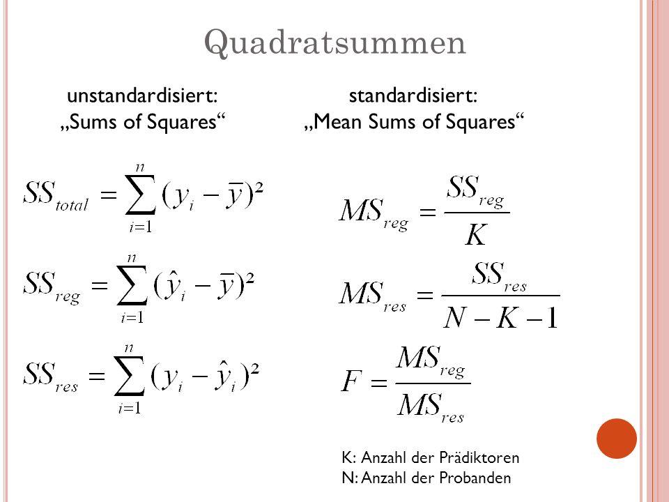Quadratsummen unstandardisiert: Sums of Squares standardisiert: Mean Sums of Squares K:Anzahl der Prädiktoren N:Anzahl der Probanden