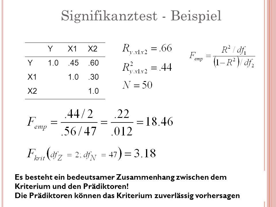 Signifikanztest - Beispiel YX1X2 Y1.0.45.60 X11.0.30 X21.0 Es besteht ein bedeutsamer Zusammenhang zwischen dem Kriterium und den Prädiktoren! Die Prä