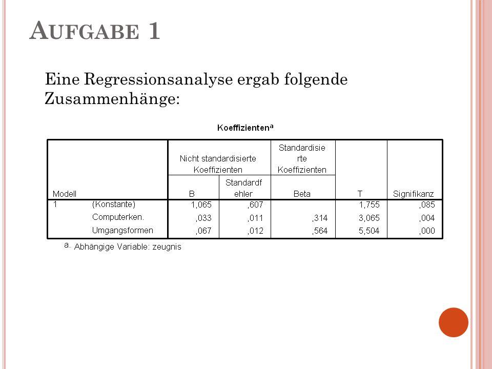 A UFGABE 1 Eine Regressionsanalyse ergab folgende Zusammenhänge: