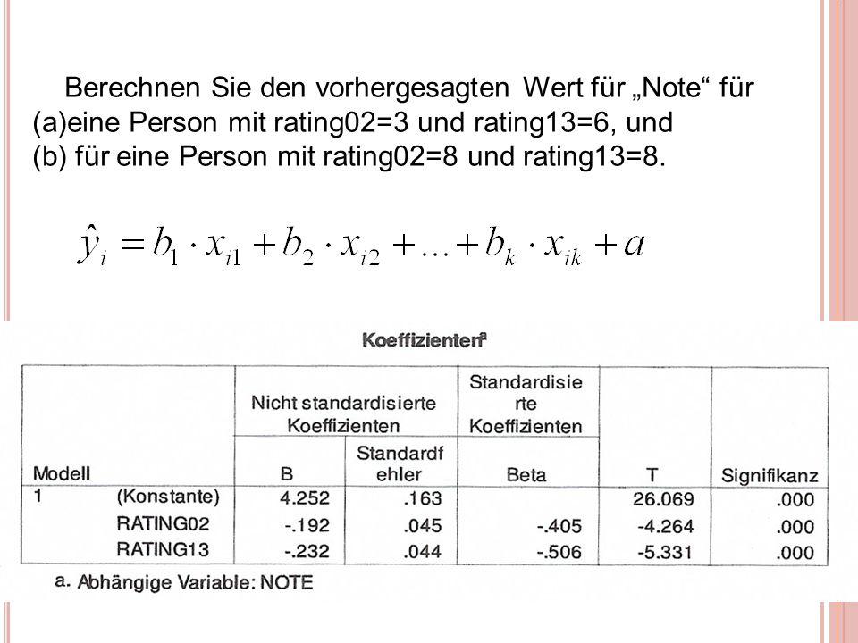Berechnen Sie den vorhergesagten Wert für Note für (a)eine Person mit rating02=3 und rating13=6, und (b) für eine Person mit rating02=8 und rating13=8