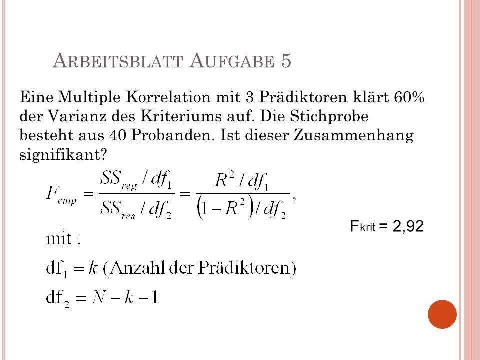 A RBEITSBLATT A UFGABE 5 Eine Multiple Korrelation mit 3 Prädiktoren klärt 60% der Varianz des Kriteriums auf. Die Stichprobe besteht aus 40 Probanden