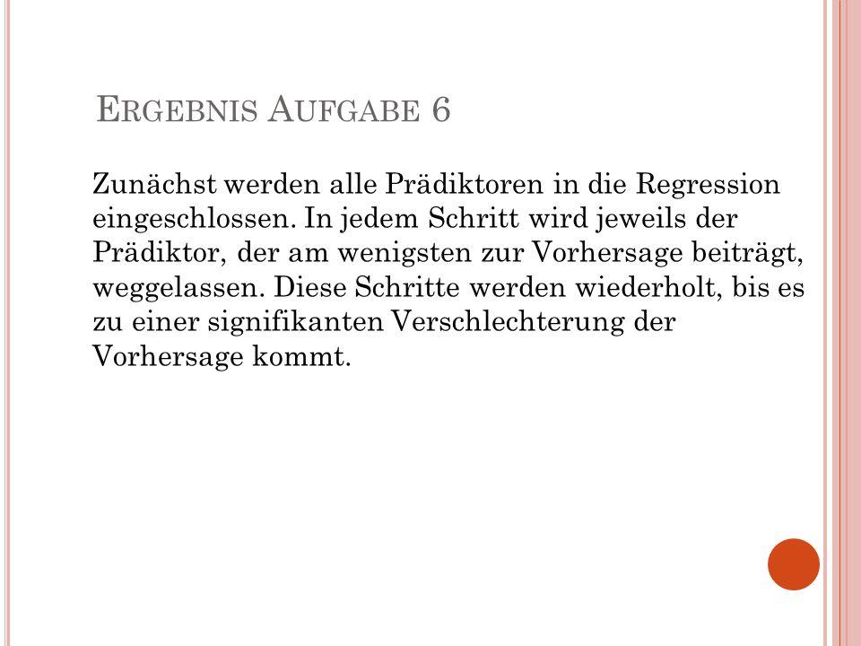 E RGEBNIS A UFGABE 6 Zunächst werden alle Prädiktoren in die Regression eingeschlossen. In jedem Schritt wird jeweils der Prädiktor, der am wenigsten