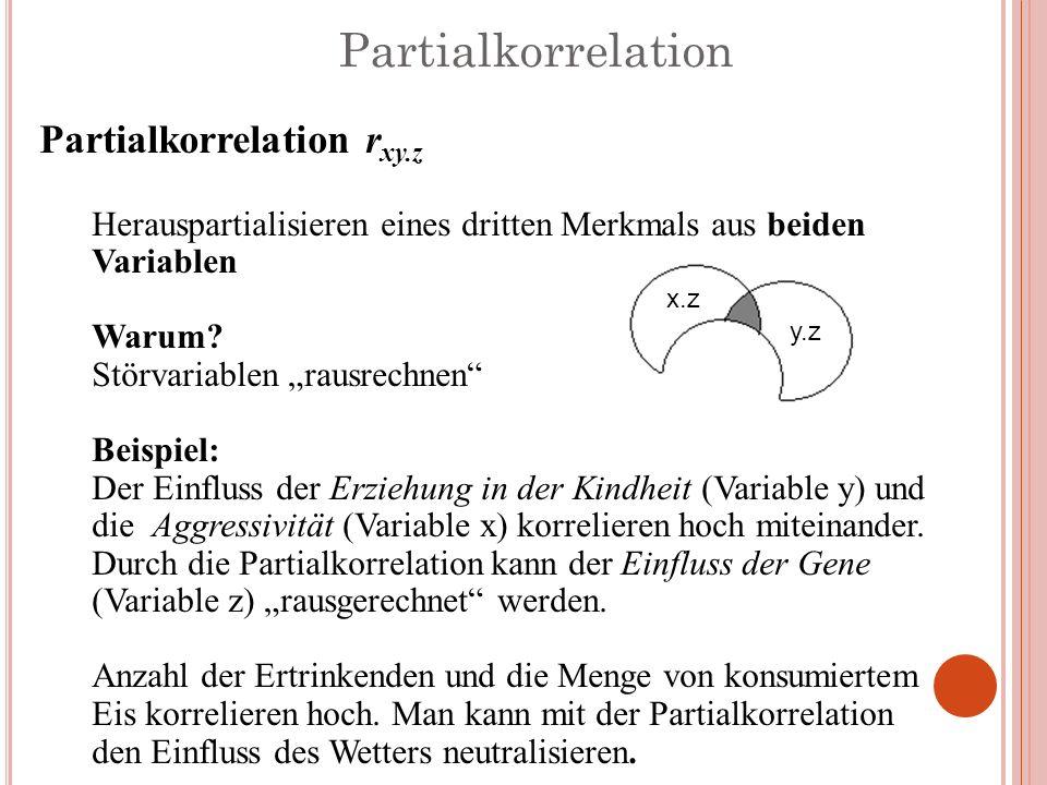 Partialkorrelation Partialkorrelation r xy.z Herauspartialisieren eines dritten Merkmals aus beiden Variablen Warum? Störvariablen rausrechnen Beispie