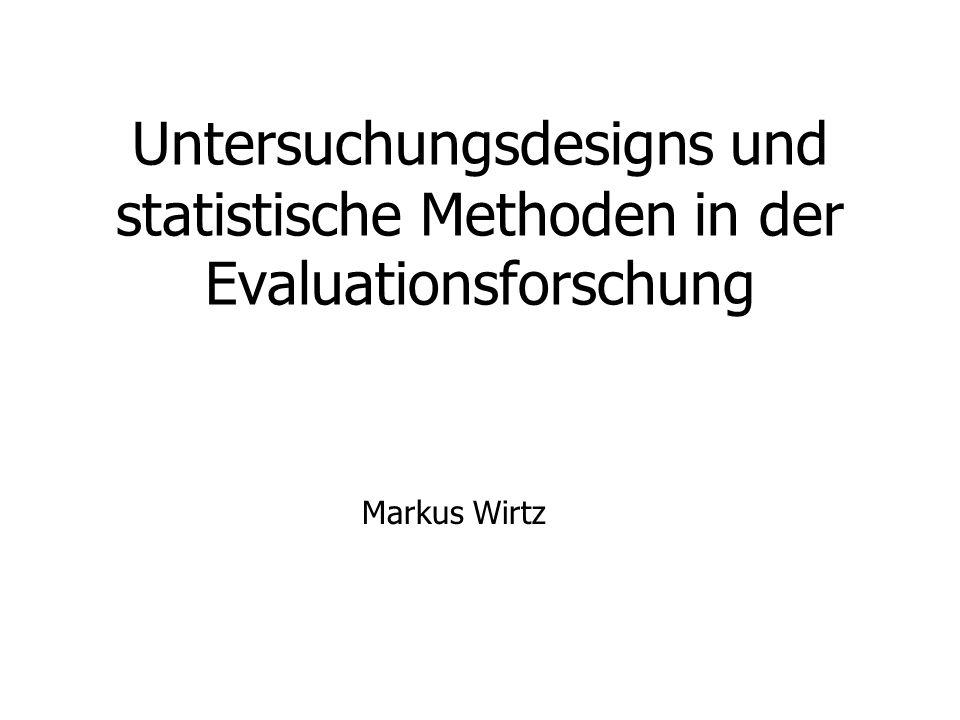 Untersuchungsdesigns und statistische Methoden in der Evaluationsforschung Markus Wirtz