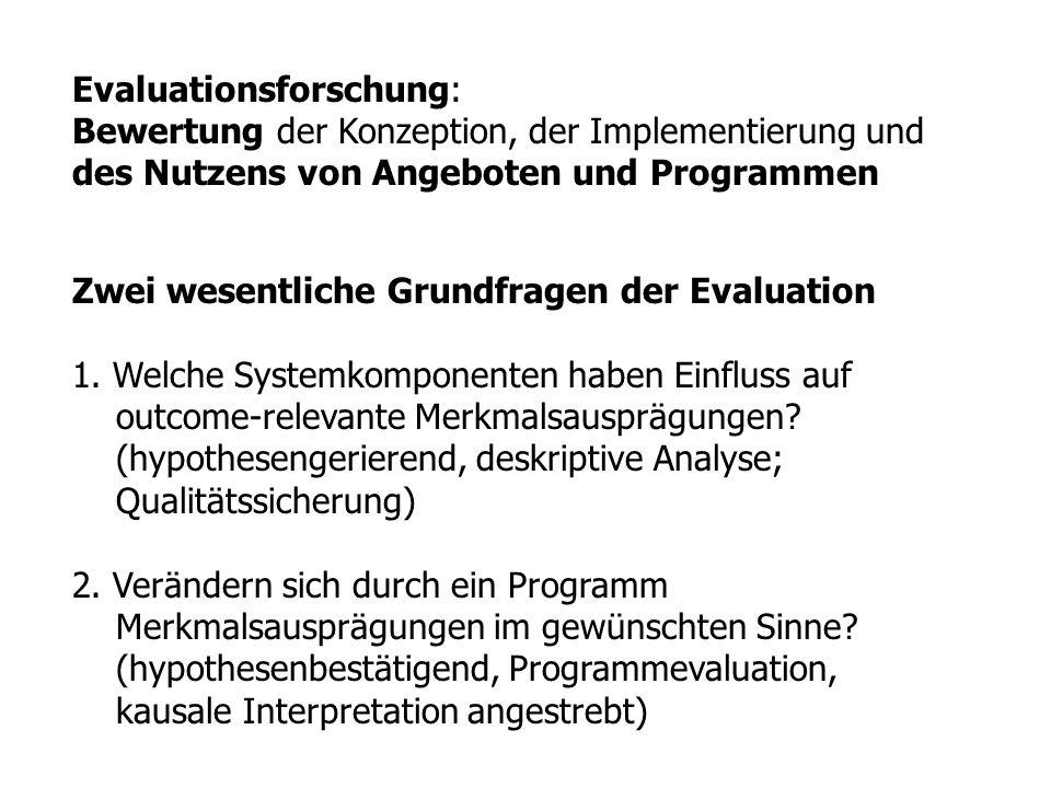 Evaluationsforschung: Bewertung der Konzeption, der Implementierung und des Nutzens von Angeboten und Programmen Zwei wesentliche Grundfragen der Eval