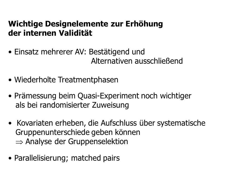 Wichtige Designelemente zur Erhöhung der internen Validität Einsatz mehrerer AV: Bestätigend und Alternativen ausschließend Wiederholte Treatmentphase
