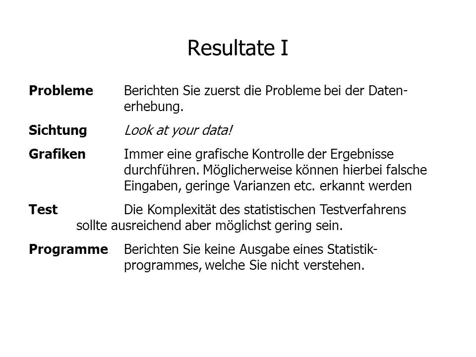 Resultate I ProblemeBerichten Sie zuerst die Probleme bei der Daten- erhebung. SichtungLook at your data! GrafikenImmer eine grafische Kontrolle der E
