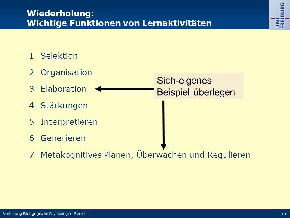 Vorlesung Pädagogische Psychologie - Renkl 11 Wiederholung: Wichtige Funktionen von Lernaktivitäten 1Selektion 2Organisation 3Elaboration 4Stärkungen