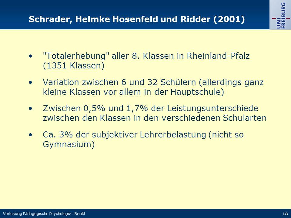 Vorlesung Pädagogische Psychologie - Renkl 18 Schrader, Helmke Hosenfeld und Ridder (2001)
