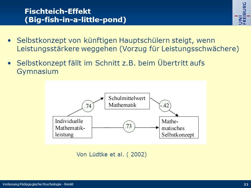 Vorlesung Pädagogische Psychologie - Renkl 23 Fischteich-Effekt (Big-fish-in-a-little-pond) Selbstkonzept von künftigen Hauptschülern steigt, wenn Lei