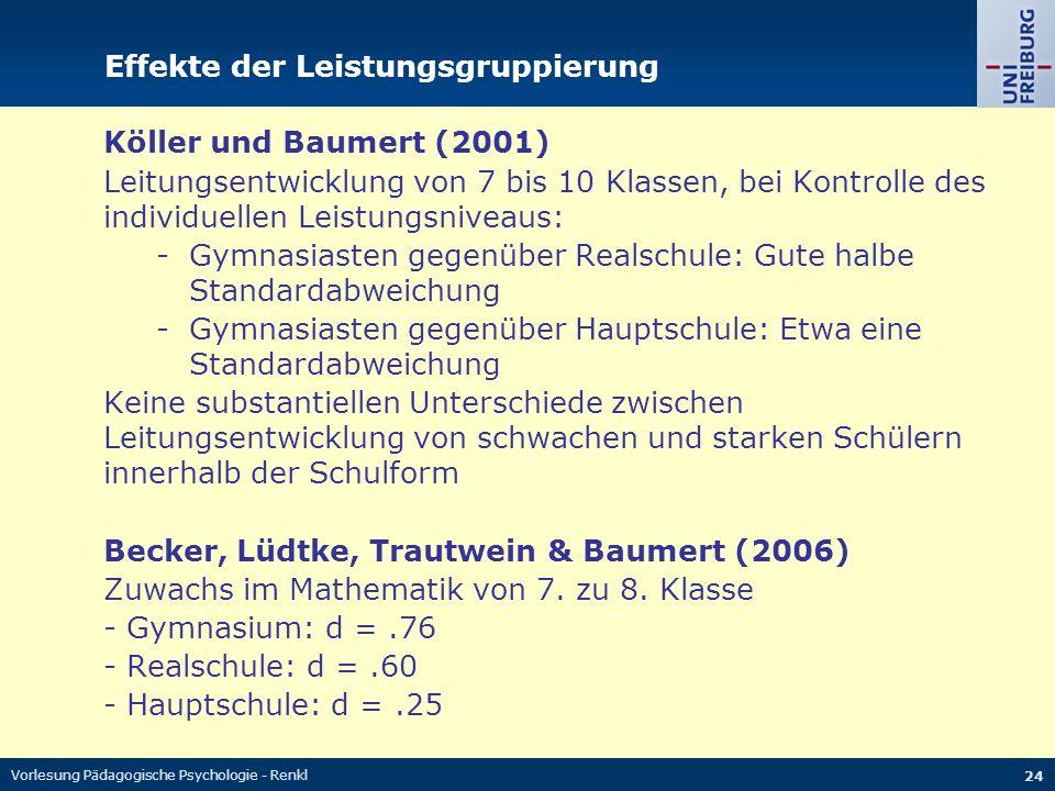 Vorlesung Pädagogische Psychologie - Renkl 24 Effekte der Leistungsgruppierung Köller und Baumert (2001) Leitungsentwicklung von 7 bis 10 Klassen, bei