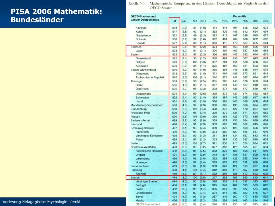 Vorlesung Pädagogische Psychologie - Renkl 5 PISA 2006 Mathematik: Bundesländer