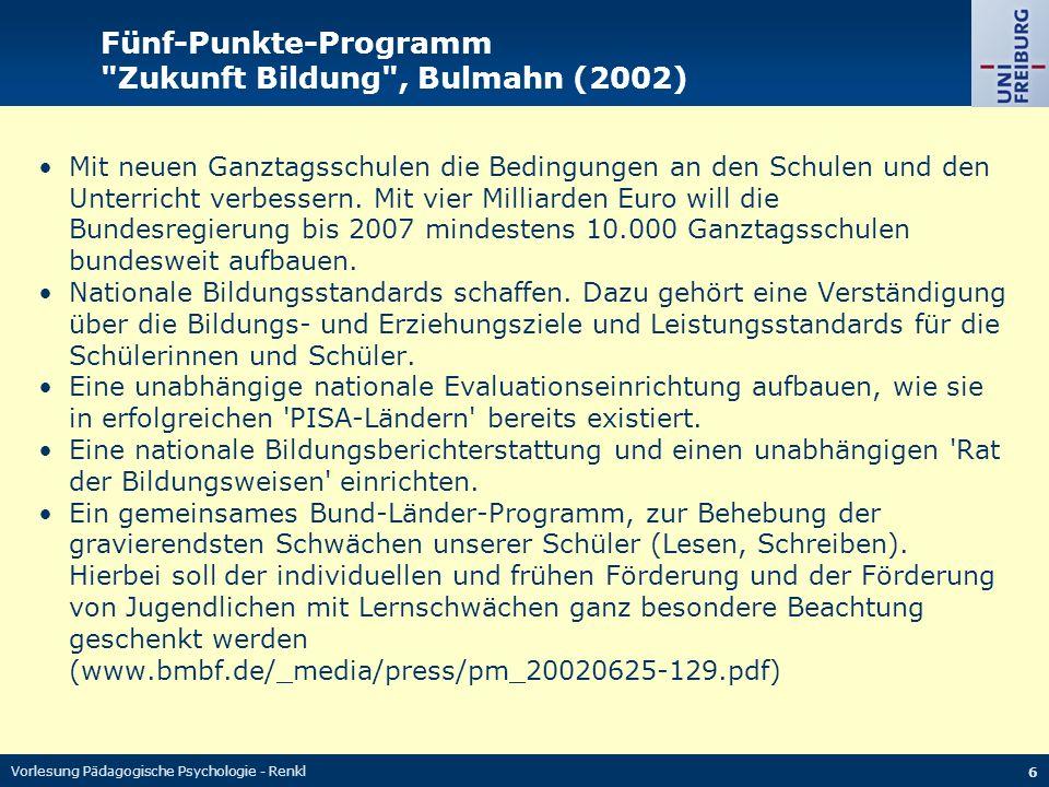 Vorlesung Pädagogische Psychologie - Renkl 6 Fünf-Punkte-Programm