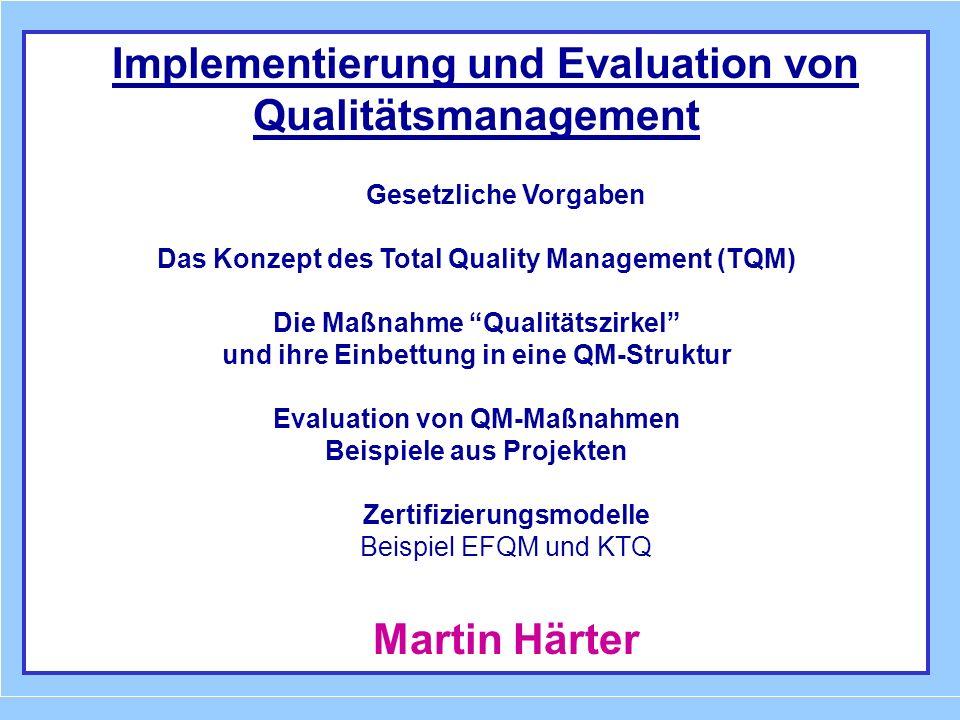 Implementierung und Evaluation von Qualitätsmanagement Gesetzliche Vorgaben Das Konzept des Total Quality Management (TQM) Die Maßnahme Qualitätszirke