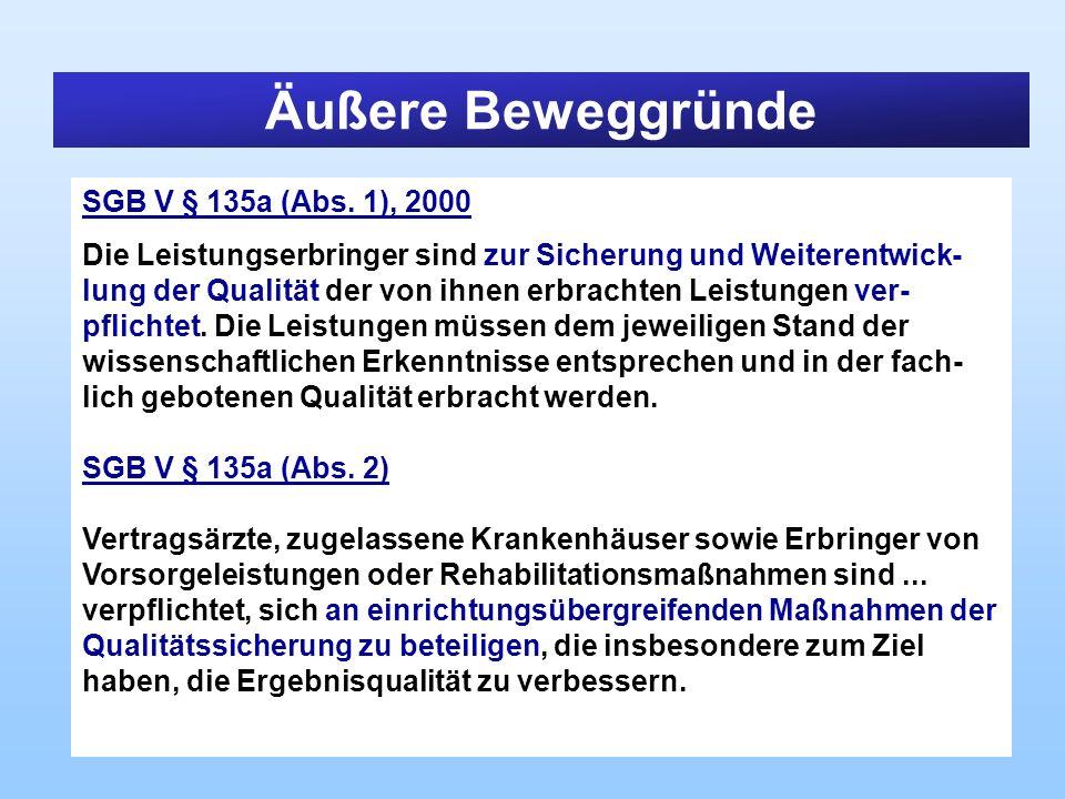 Äußere Beweggründe SGB V § 135a (Abs. 1), 2000 Die Leistungserbringer sind zur Sicherung und Weiterentwick- lung der Qualität der von ihnen erbrachten