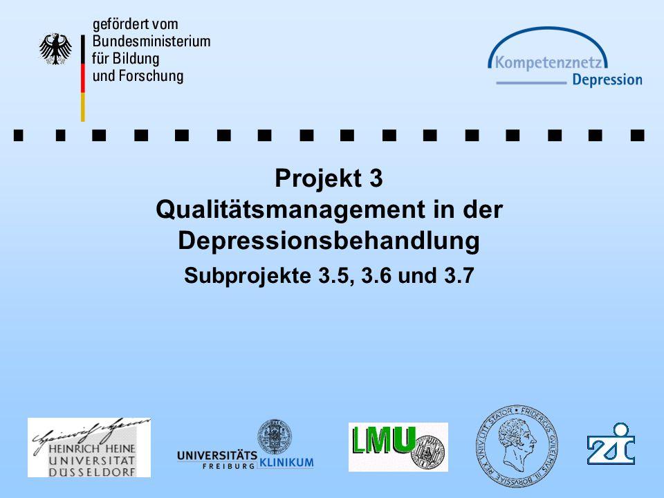 Projekt 3 Qualitätsmanagement in der Depressionsbehandlung Subprojekte 3.5, 3.6 und 3.7