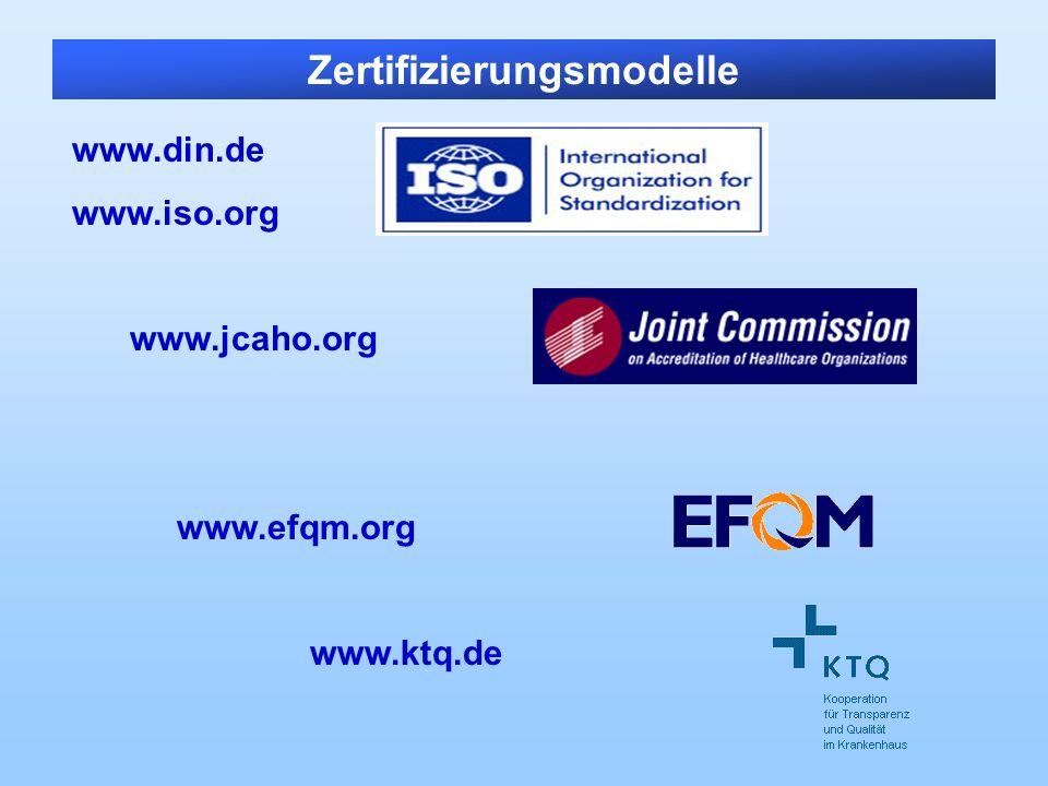 Zertifizierungsmodelle www.din.de www.iso.org www.jcaho.org www.efqm.org www.ktq.de