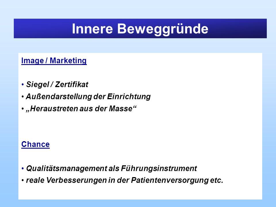 Innere Beweggründe Image / Marketing Siegel / Zertifikat Außendarstellung der Einrichtung Heraustreten aus der Masse Chance Qualitätsmanagement als Fü