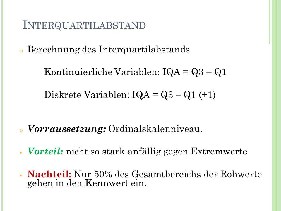 I NTERQUARTILABSTAND o Berechnung des Interquartilabstands Kontinuierliche Variablen: IQA = Q3 – Q1 Diskrete Variablen: IQA = Q3 – Q1 (+1) o Vorrausse
