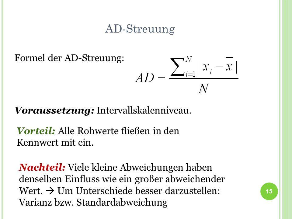 AD-Streuung Formel der AD-Streuung: Voraussetzung: Intervallskalenniveau. 15 Vorteil: Alle Rohwerte fließen in den Kennwert mit ein. Nachteil: Viele k
