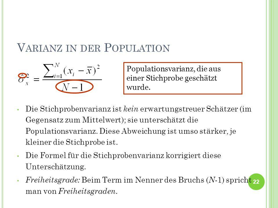 V ARIANZ IN DER P OPULATION Die Stichprobenvarianz ist kein erwartungstreuer Schätzer (im Gegensatz zum Mittelwert); sie unterschätzt die Populationsv