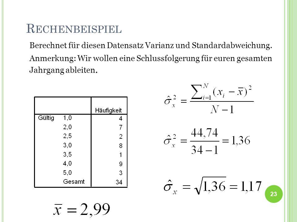23 R ECHENBEISPIEL Berechnet für diesen Datensatz Varianz und Standardabweichung. Anmerkung: Wir wollen eine Schlussfolgerung für euren gesamten Jahrg