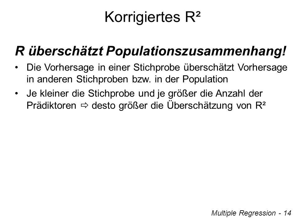 Multiple Regression - 14 Korrigiertes R² R überschätzt Populationszusammenhang.
