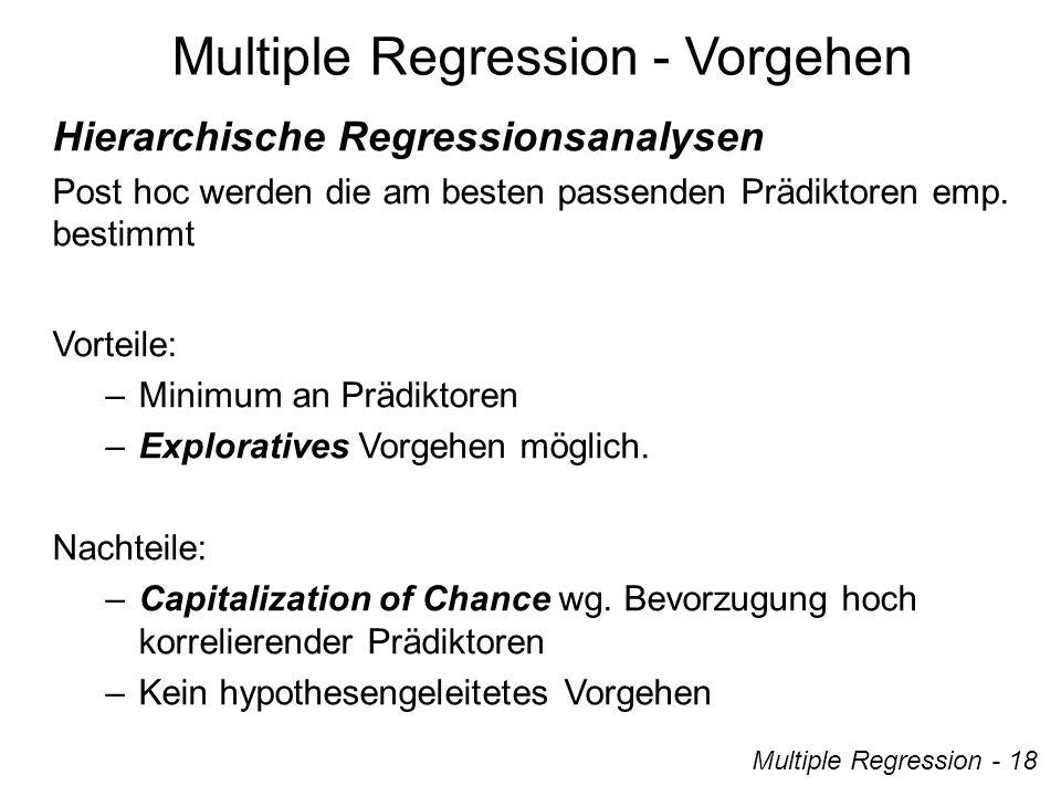 Multiple Regression - 18 Hierarchische Regressionsanalysen Post hoc werden die am besten passenden Prädiktoren emp.
