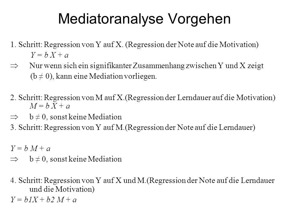 Mediatoranalyse Vorgehen 1.Schritt: Regression von Y auf X.