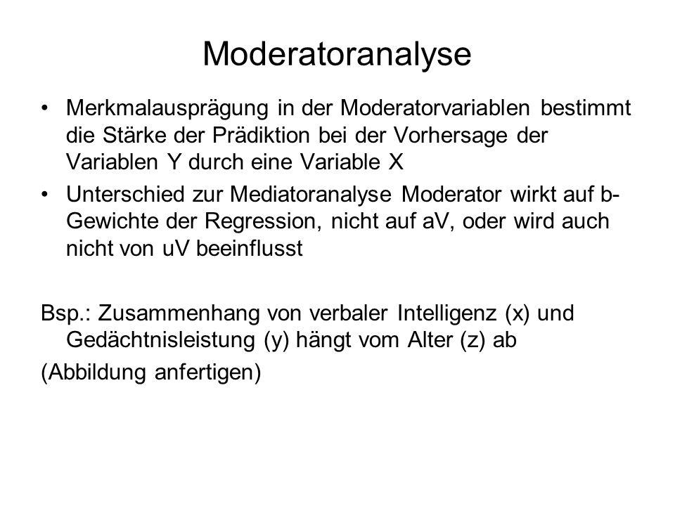 Moderatoranalyse Merkmalausprägung in der Moderatorvariablen bestimmt die Stärke der Prädiktion bei der Vorhersage der Variablen Y durch eine Variable X Unterschied zur Mediatoranalyse Moderator wirkt auf b- Gewichte der Regression, nicht auf aV, oder wird auch nicht von uV beeinflusst Bsp.: Zusammenhang von verbaler Intelligenz (x) und Gedächtnisleistung (y) hängt vom Alter (z) ab (Abbildung anfertigen)