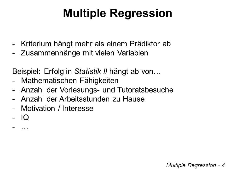 Multiple Regression - 5 Strukturgleichungen Bivariate Regression Multivariate Regression – Erweiterung der einfachen linearen Regression mehrere Prädiktorvariablen – Bestimmung über die Methode der kleinsten Quadrate