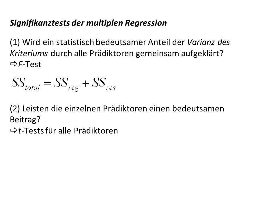 Standardisierte Regressionsgewichte (β – Gewichte) Multiple Regression - 8 Die Regressionsgerade kann auch in einer standardisierten Form beschrieben werden: unstandardisiert: standardisiert: Vorteil: Die Beta-Gewichte nehmen nur Werte zwischen -1 und +1 an.