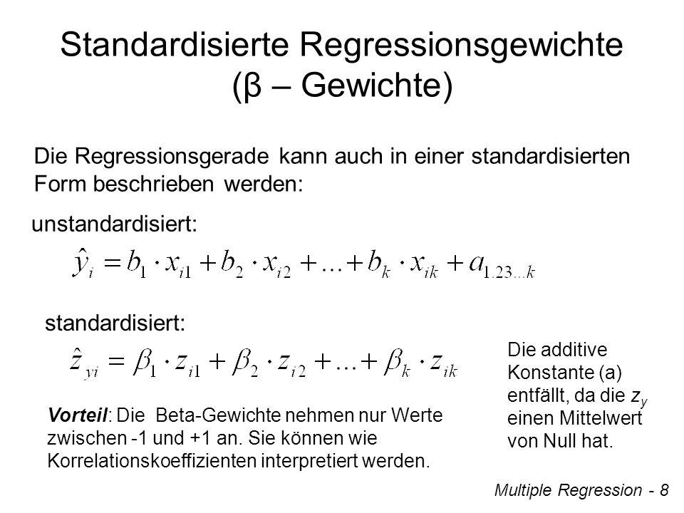 Lösung: ModellQuadrat summe dfMittel der Quadrate FSignifikanz 1Regression Residuen ges 24.115 14.274 38.389 3 61 64 8.038 0.234 34.350.000