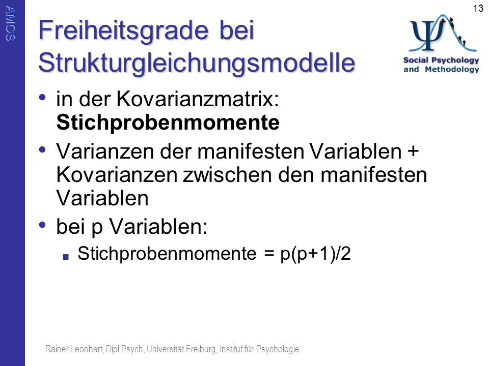 AMOS Rainer Leonhart, Dipl.Psych, Universität Freiburg, Institut für Psychologie 13 Freiheitsgrade bei Strukturgleichungsmodelle in der Kovarianzmatri