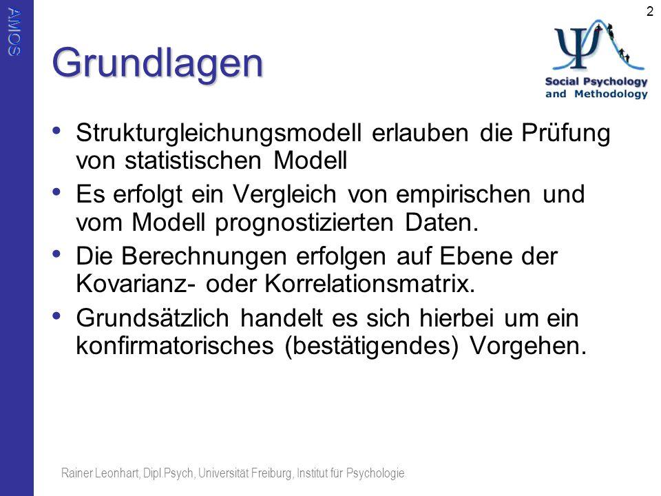 AMOS Rainer Leonhart, Dipl.Psych, Universität Freiburg, Institut für Psychologie 2Grundlagen Strukturgleichungsmodell erlauben die Prüfung von statist