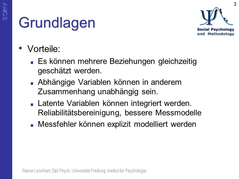 AMOS Rainer Leonhart, Dipl.Psych, Universität Freiburg, Institut für Psychologie 3Grundlagen Vorteile: Es können mehrere Beziehungen gleichzeitig gesc