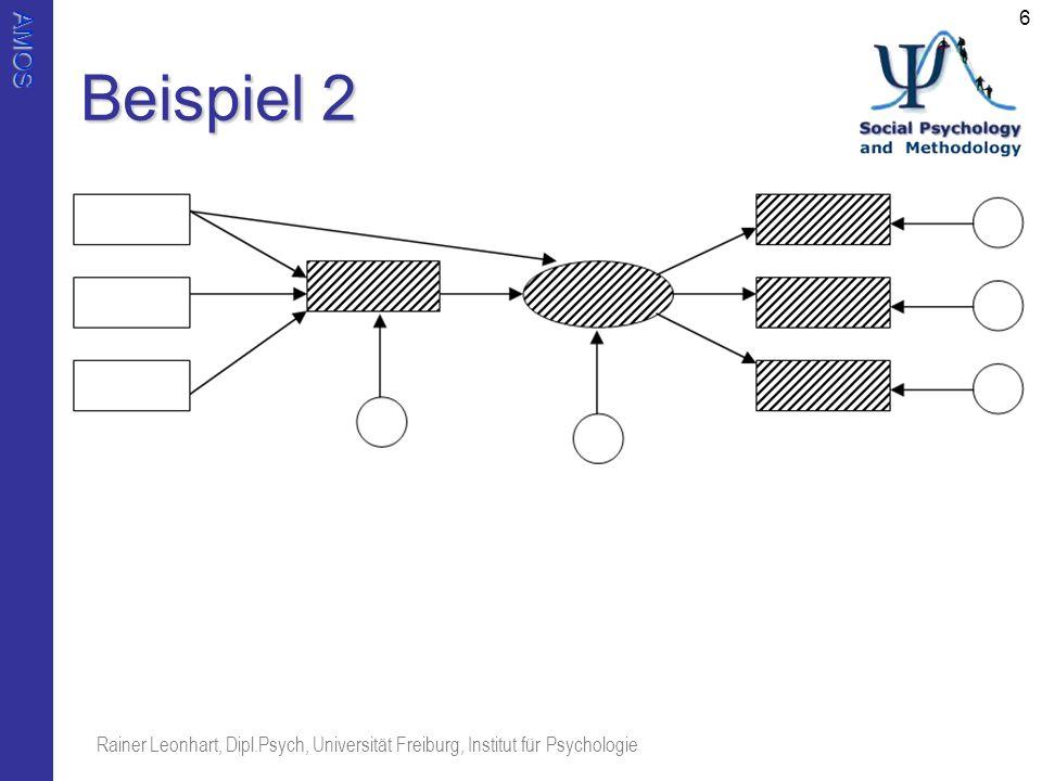 AMOS Rainer Leonhart, Dipl.Psych, Universität Freiburg, Institut für Psychologie 6 Beispiel 2
