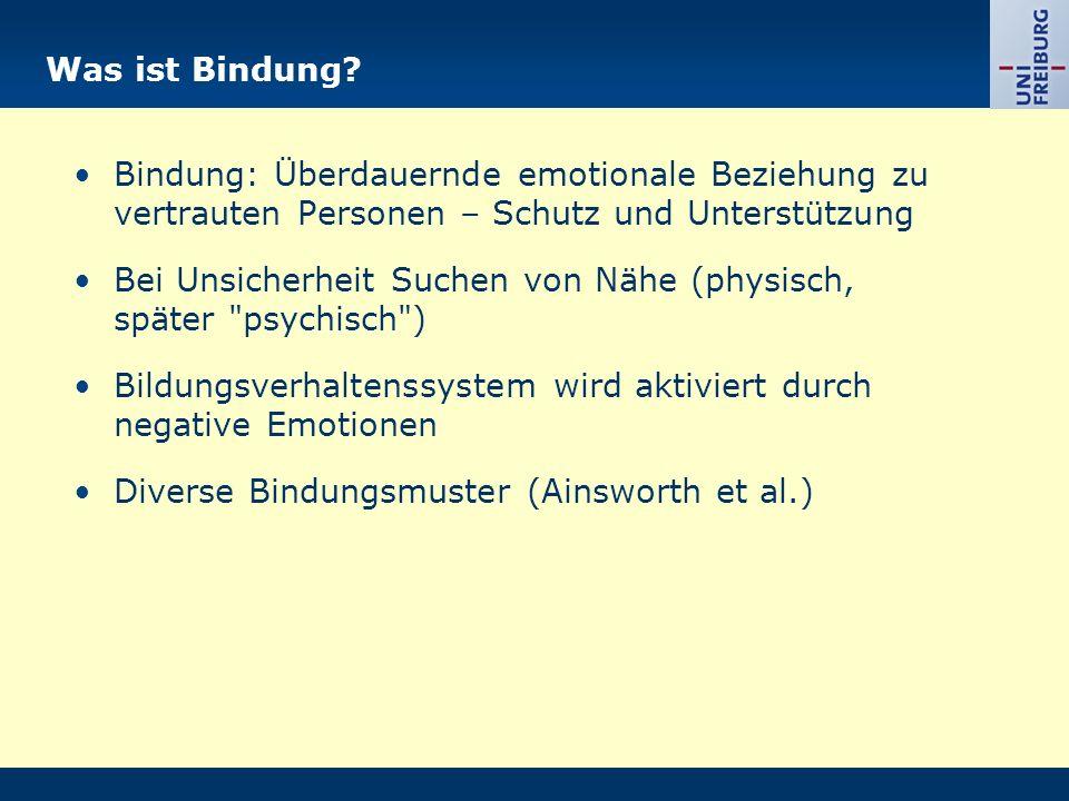Was ist Bindung? Bindung: Überdauernde emotionale Beziehung zu vertrauten Personen – Schutz und Unterstützung Bei Unsicherheit Suchen von Nähe (physis