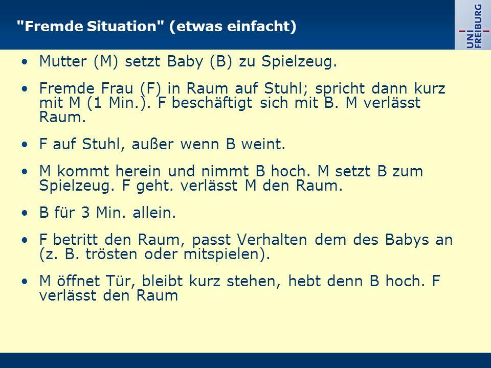 Fremde Situation (etwas einfacht) Mutter (M) setzt Baby (B) zu Spielzeug.